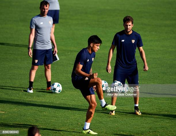 Joaquin Correa of Sevilla FC in action during the training session prior to their UEFA Champions League match against Istanbul Basaksehir at the...