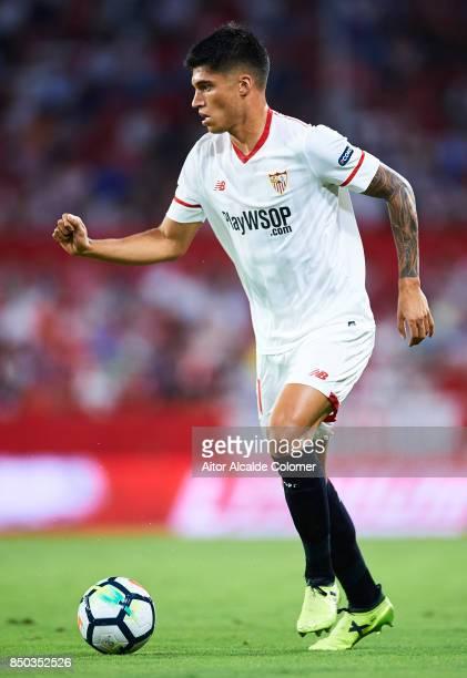 Joaquin Correa of Sevilla FC in action on during the La Liga match between Sevilla and Las Palmas at Estadio Ramon Sanchez Pizjuan on September 20...