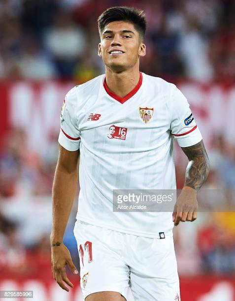 Joaquin Correa of Sevilla FC looks on during a Pre Season Friendly match between Sevilla FC and AS Roma at Estadio Ramon Sanchez Pizjuan on August 10...