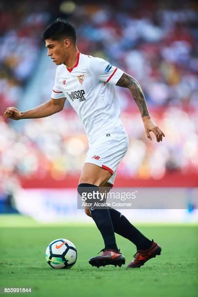 Joaquin Correa of Sevilla FC looks on during the La Liga match between Sevilla and Malaga at Estadio Ramon Sanchez Pizjuan on September 30 2017 in...