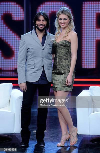R Joaquin Cortes and Sofia Bruscoli attend 'Chiambretti Night' Italian TV Show held at Mediaset Studios on January 27 2011 in Milan Italy