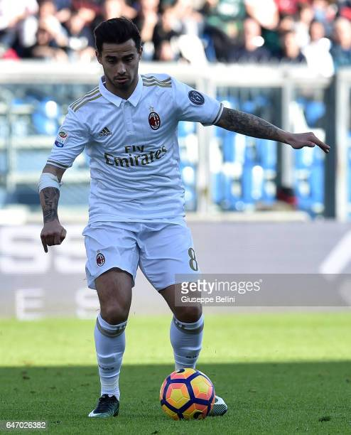 Joaquin Fernandez Suso of AC Milan in action during the Serie A match between US Sassuolo and AC Milan at Mapei Stadium Citta' del Tricolore on...