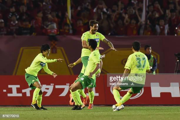 Joaquin Larrivey of JEF United Chiba celebrates scoring the opening goal with his team mates during the JLeague J1 Promotion PlayOff semi final match...