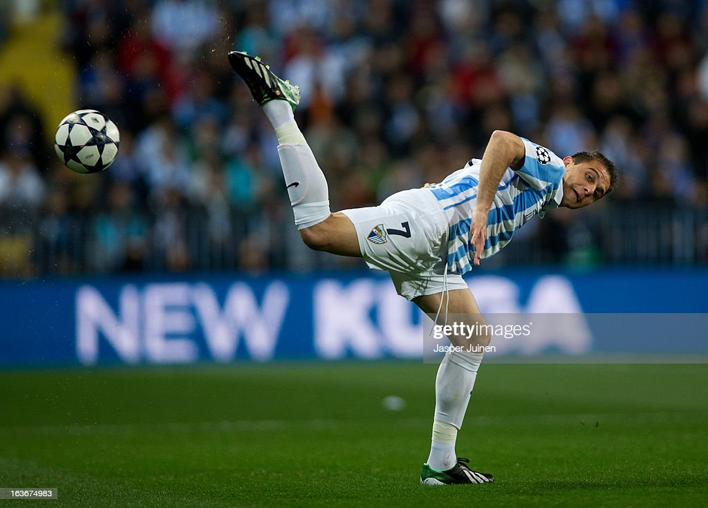 Joaquin of Malaga CF controls the ball during the UEFA Champions League Round of 16 second leg match between Malaga CF and FC Porto at La Rosaleda Stadium on March 13, 2013 in Malaga, Spain.