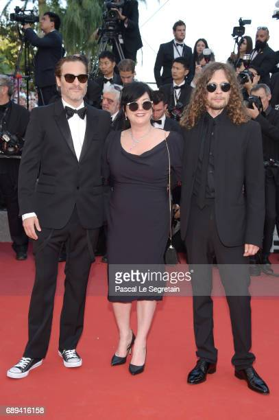 Joaquin Phoenix and director Lynne Ramsay attend the Closing Ceremony during the 70th annual Cannes Film Festival at Palais des Festivals on May 28...