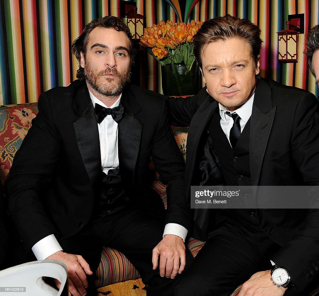 Joaquin Phoenix (L) and Jeremy Renner attend The Weinstein Company and Entertainment Film Distributors Post-BAFTA Party hosted by Chopard and Grey Goose at LouLou's on February 10, 2013 in London, England.
