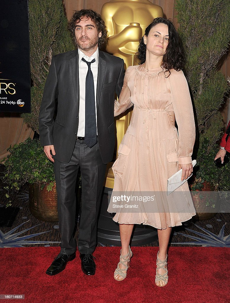 Joaquin Phoenix and Rain Phoenix arrives at the 85th Academy Awards - Nominees Luncheon at The Beverly Hilton Hotel on February 4, 2013 in Beverly Hills, California.