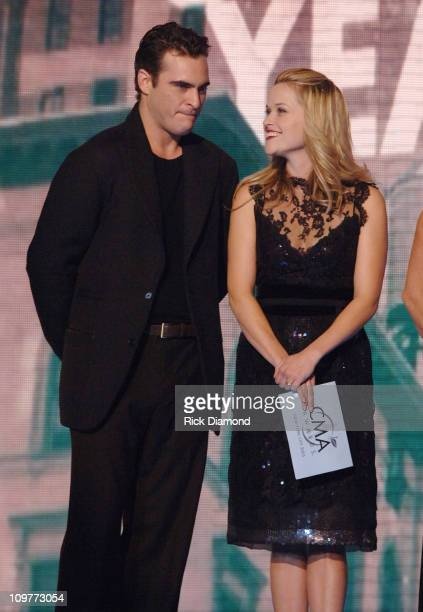 Joaquin Phoenix and Reese Witherspoon presenters during The 39th Annual CMA Awards Show at Madison Square Garden in New York City New York United...
