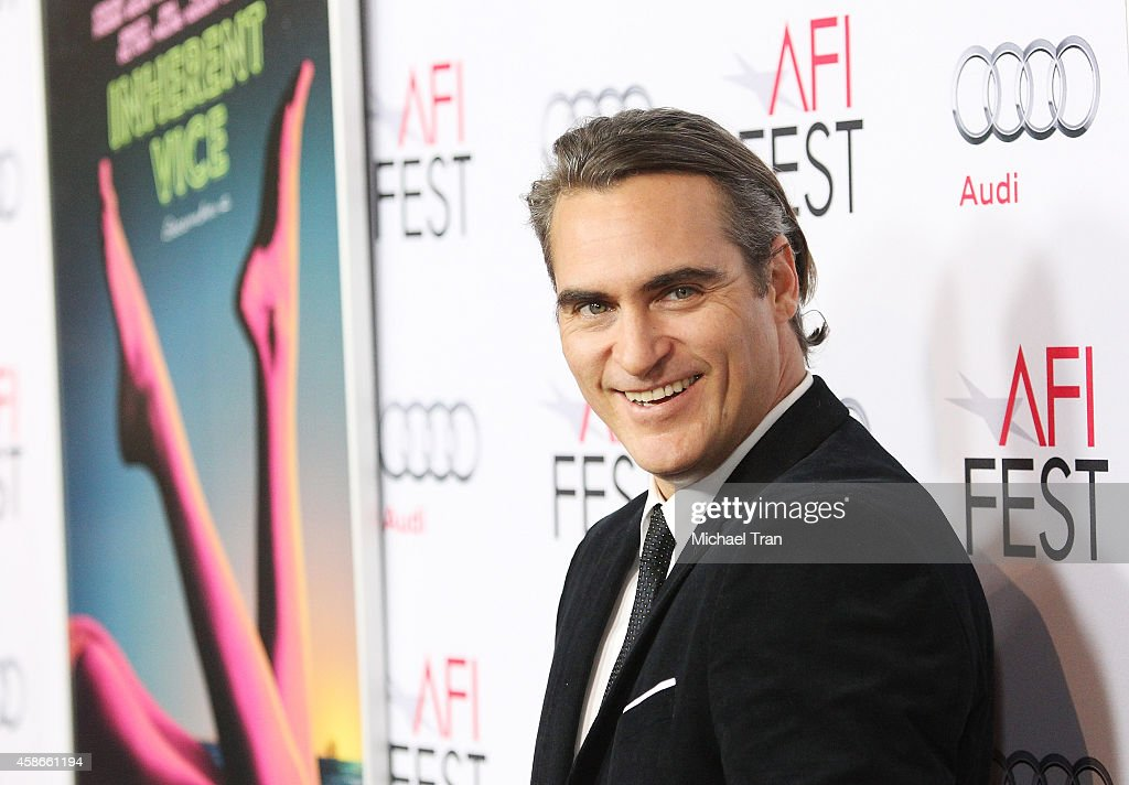<a gi-track='captionPersonalityLinkClicked' href=/galleries/search?phrase=Joaquin+Phoenix&family=editorial&specificpeople=215391 ng-click='$event.stopPropagation()'>Joaquin Phoenix</a> arrives at AFI FEST 2014 presented by Audi - gala premiere of 'Inherent Vice' held at the Egyptian Theatre on November 8, 2014 in Hollywood, California.