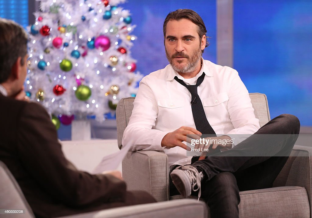 AMERICA - <a gi-track='captionPersonalityLinkClicked' href=/galleries/search?phrase=Joaquin+Phoenix&family=editorial&specificpeople=215391 ng-click='$event.stopPropagation()'>Joaquin Phoenix</a> is a guest on 'Good Morning America,' 12/9/14, airing on the ABC Television Network.