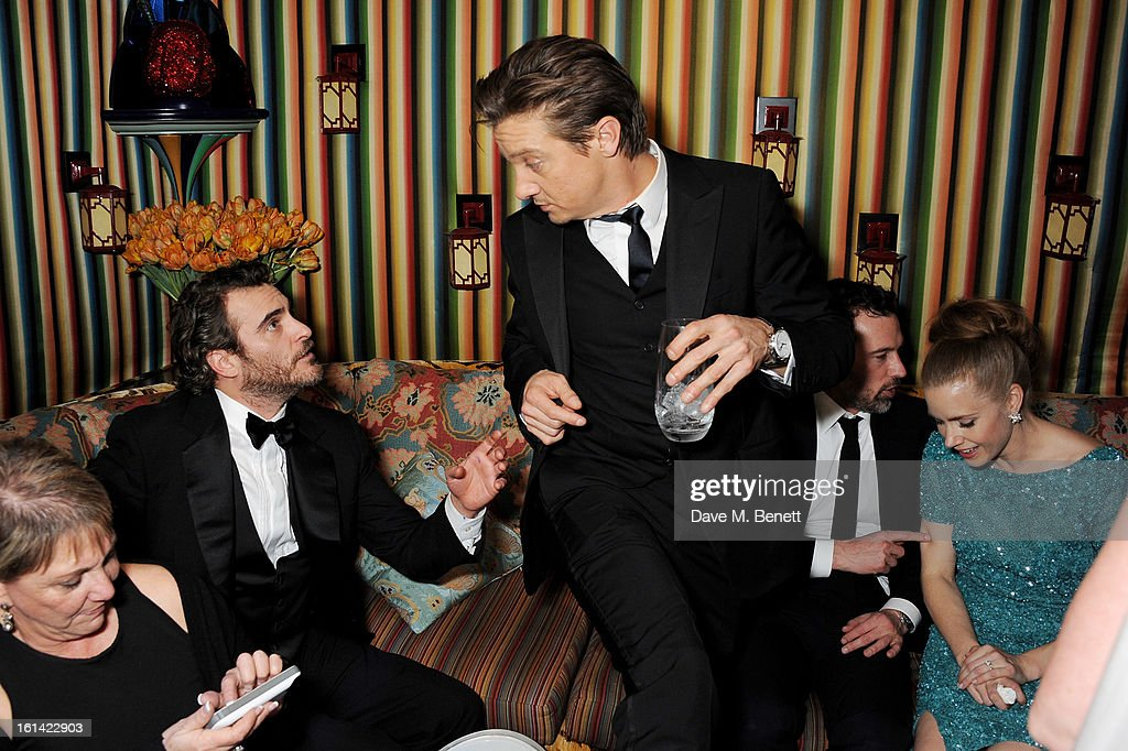 Joaquin Phoenix, Jeremy Renner and Amy Adams attend The Weinstein Company and Entertainment Film Distributors Post-BAFTA Party hosted by Chopard and Grey Goose at LouLou's on February 10, 2013 in London, England.