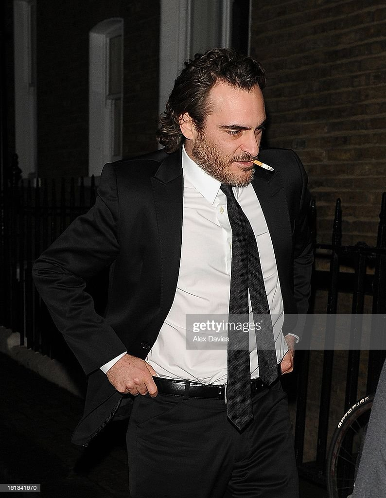 Joaquin Phoenix leaves Annabel's pre bafta party on February 9, 2013 in London, England.