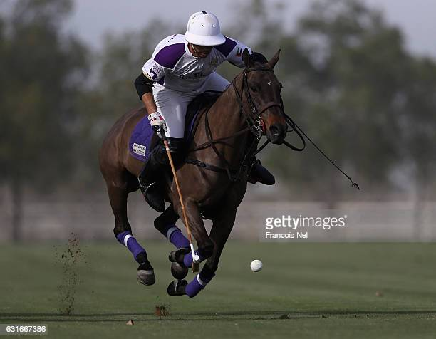 Joaquin Pittaluga of Abu Dhabi Polo in action during the HH President of UAE Polo Cup match between Abu Dhabi Polo and Bin Drai Polo on January 14...