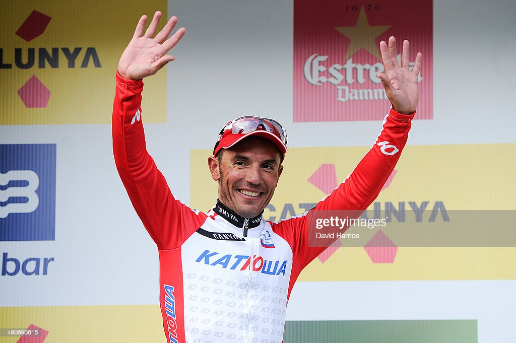 Joaquin Rodriguez of Spain and Team Katusha celebrates on the podium after winning the Stage three of the La Volta a Catalunya on March 26, 2014 in La Molina, Spain.