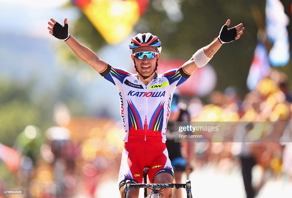 Joaquin Rodriguez Oliver of Spain and Team Katusha celebrates as he crosses the line to win the stage during stage three of the 2015 Tour de France, a 159.5 km stage between Anvers and Huy, on July 6, 2015 in Huy, Belgium.
