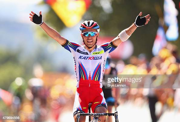 Joaquin Rodriguez Oliver of Spain and Team Katusha celebrates as he crosses the line to win the stage during stage three of the 2015 Tour de France a...