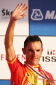Joaquin Rodriguez Oliver of Spain celebrates 3rd place in the Men's Road Race at the 2009 UCI Road World Championships on September 27 2009 in...