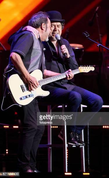 Joaquin Sabina and guitarist Jaime Asua performs at Coliseum on July 22 2017 in A Coruna Spain