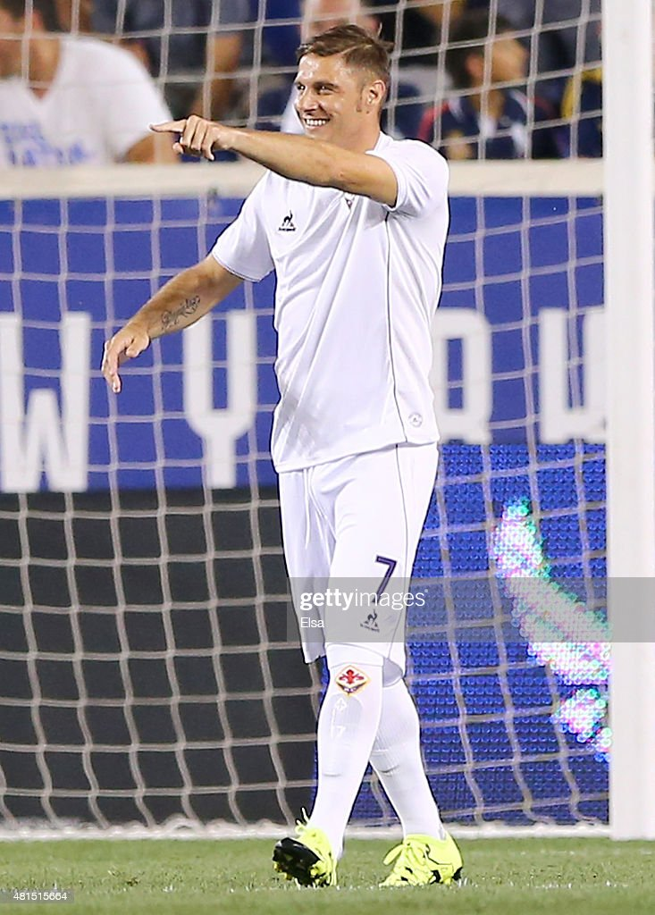 Joaquin Sanchez #7 of AFC Fiorentina celebrates his goal in the second half against Paris Saint-Germain during the International Champions Cup at Red Bull Arena on July 21, 2015 in Harrison, New Jersey.Paris Saint-Germain defeated ACF Fiorentina 4-2.
