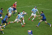 Joaquin Tuculet Juan Martin Hernandez Agustin Creevy and Marcos Ayerza of Argentina Pumas in action during the international rugby test match between...
