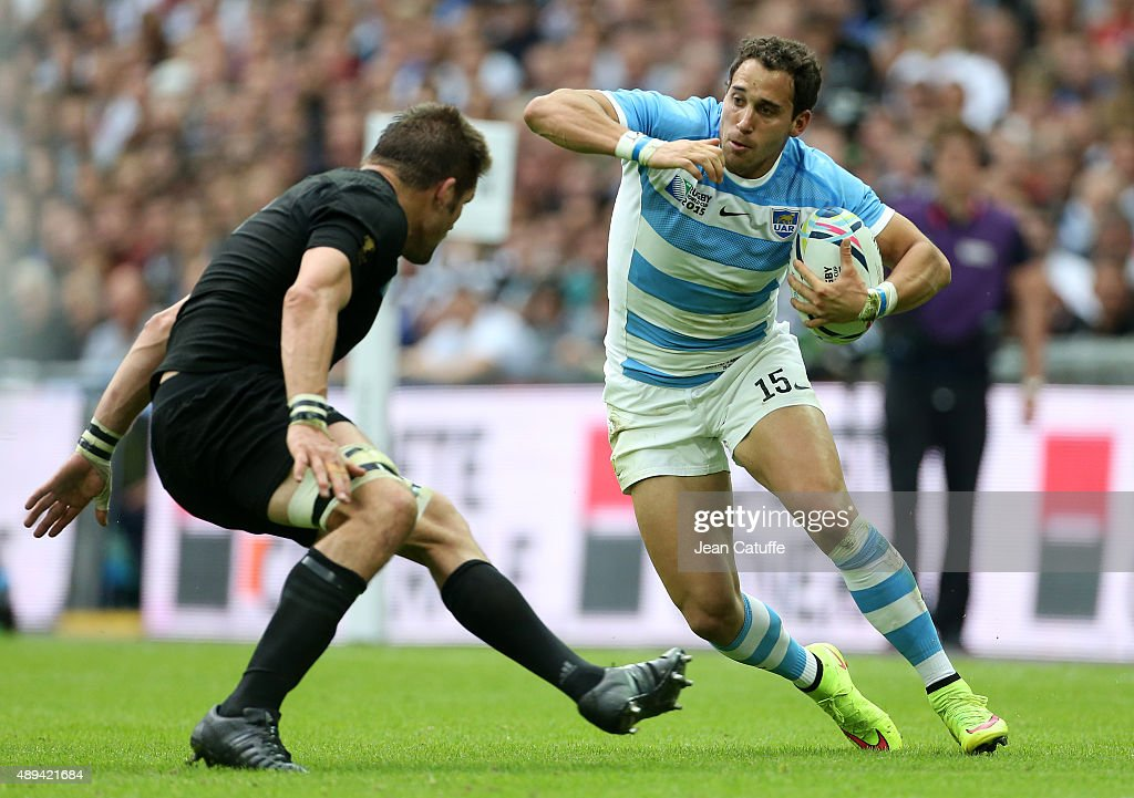 Joaquin Tuculet of Argentina in action during the Rugby World Cup 2015 match between New Zealand (All Blacks) and Argentina (Los Pumas) at Wembley Stadium on September 20, 2015 in London, England.