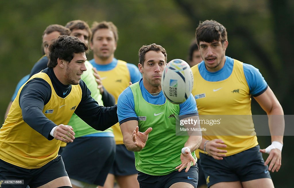 Joaquin Tuculet of Argentina passes during a Argentina training session at the Vale Hotel on October 16, 2015 in Pontyclun, Wales.
