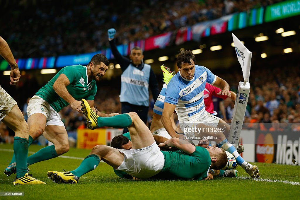 Joaquin Tuculet of Argentina rolls over to score his team's third try during the 2015 Rugby World Cup Quarter Final match between Ireland and Argentina at the Millennium Stadium on October 18, 2015 in Cardiff, United Kingdom.