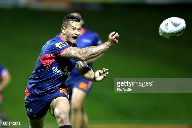 Joass Trael of Tasman passes during the round nine Mitre 10 Cup match between Counties Manukau and Tasman at ECOLight Stadium on October 14 2017 in...