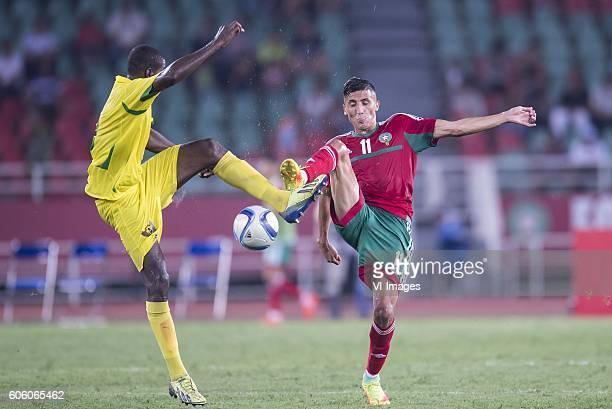 Joazhifel Soares da Cruz Soua Pontes of Sao Tome e Principe Facal Fajr of Morocco during the Africa Cup of Nations match between Morocco and Sao Tome...