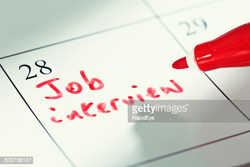 Calendar Photography Jobs : Job interview appointment marked on calendar stock photo