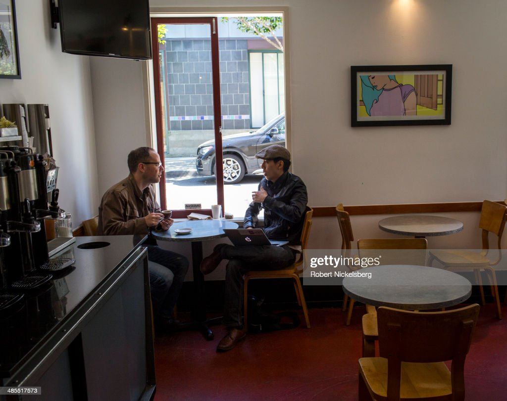A job interview is conducted April 14, 2014 in a coffee shop in the heart of the South Park's start-up district in San Francisco, California.