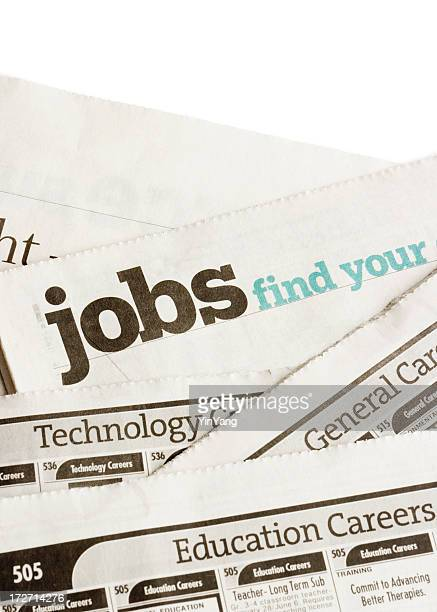 Job Search Classified Ad Recruitment and Employment Page in Newspaper