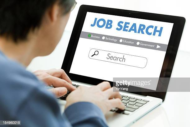 Job Search Using Computer Laptop for Internet Occupation, Career Searching