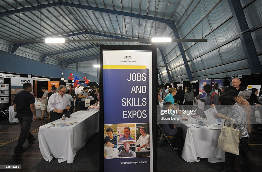 Job seekers attend a jobs and skills expo run by the Australian government in Melbourne, Australia, on Thursday, Oct. 4, 2012. Australia's unemployment rate probably climbed to 5.3 percent last month from 5.1 percent in August, according to the median estimate of economists surveyed by Bloomberg News. Photographer: Carla Gottgens/Bloomberg via Getty Images
