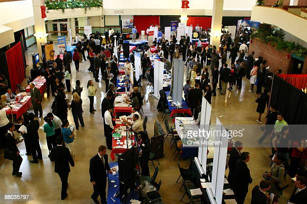 Job seekers attend the New Jersey Collegiate Career Day hosted by Rutgers University on May 28 2009 in New Brunswick New Jersey Over 150 employers...