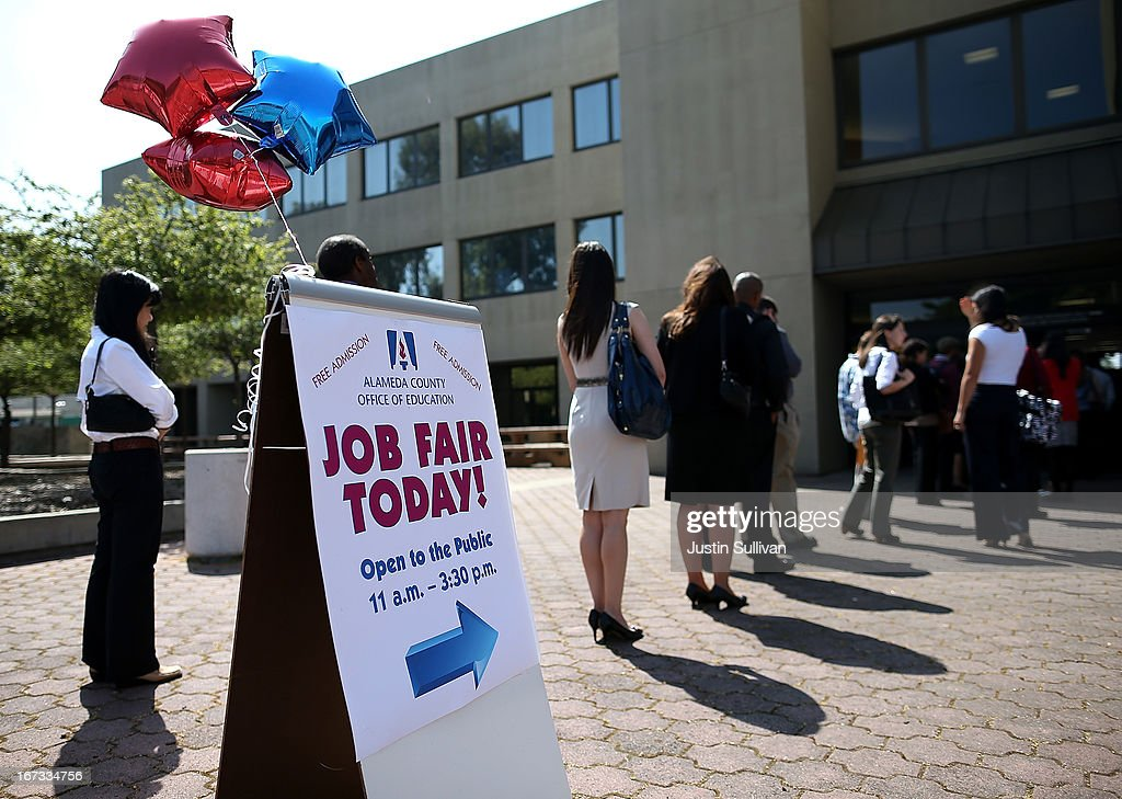 Job seekers line up to enter a job fair at the Alameda County Office of Education on April 24, 2013 in Hayward, California. Over 100 job seekers attended the annual education job fair hosted by the Alameda County Office of Education where 200 jobs were available ranging from teachers to IT professionals.