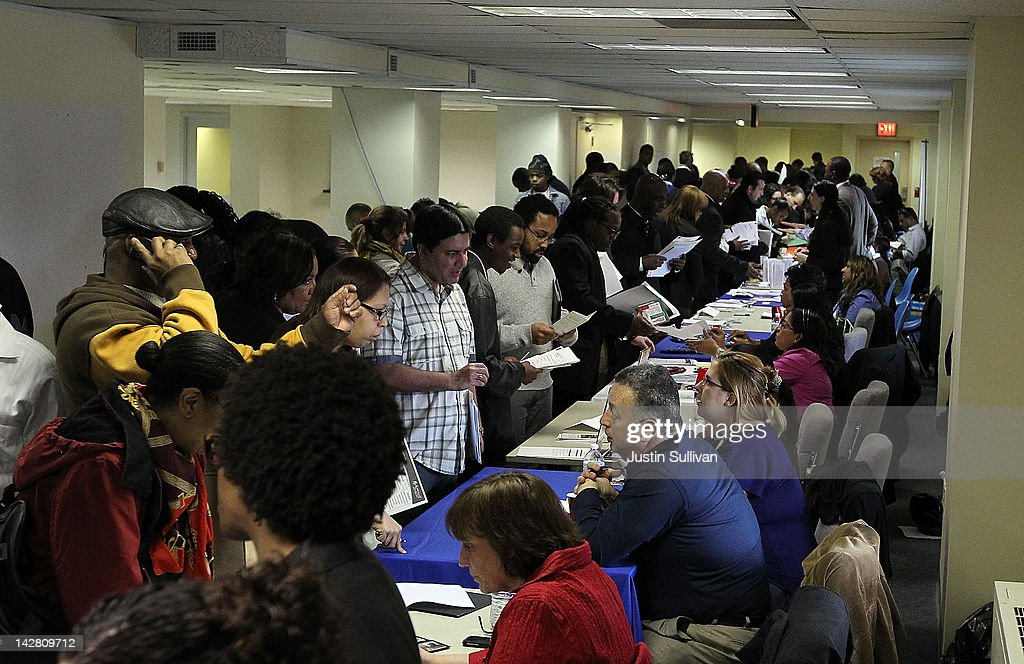Job seekers meet with recruiters during a job fair hosted by the State of New York at the Shirley A. Chisholm State Office Building on April 12, 2012 in Brooklyn, New York. Thousands of job seekers lined up around the block to meet with recruiters at the one-day job fair that was one of 8 being held across the state.