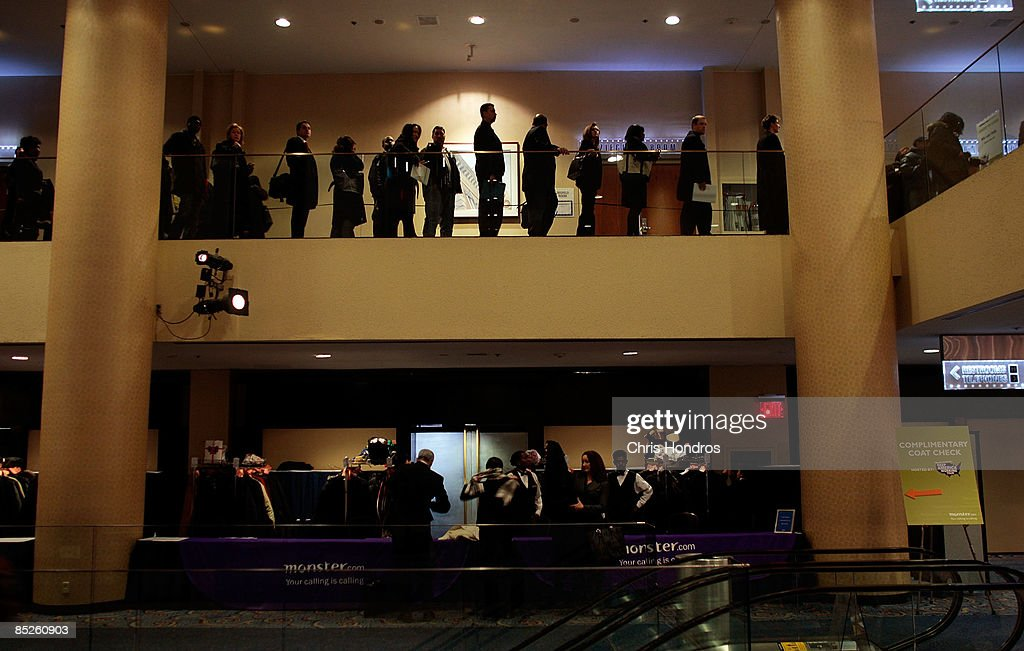 Job seekers stand in line for hours inside the 'Keep America Working' job fair at the Marriot Marquis Hotel in Times Square on March 5, 2009 in New York City. Thousands of job applicants showed up for the fair sponsored by the job placement service Monster.com which will tour nationally around the country. New York City has lost tens of thousands of jobs, a great percentage in the finance sector, due to the economic crisis.