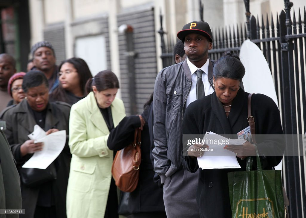 Job seekers wait in line to enter a job fair hosted by the State of New York at the Shirley A. Chisholm State Office Building on April 12, 2012 in Brooklyn, New York. Thousands of job seekers lined up around the block to meet with recruiters at the one-day job fair that was one of 8 being held across the state.