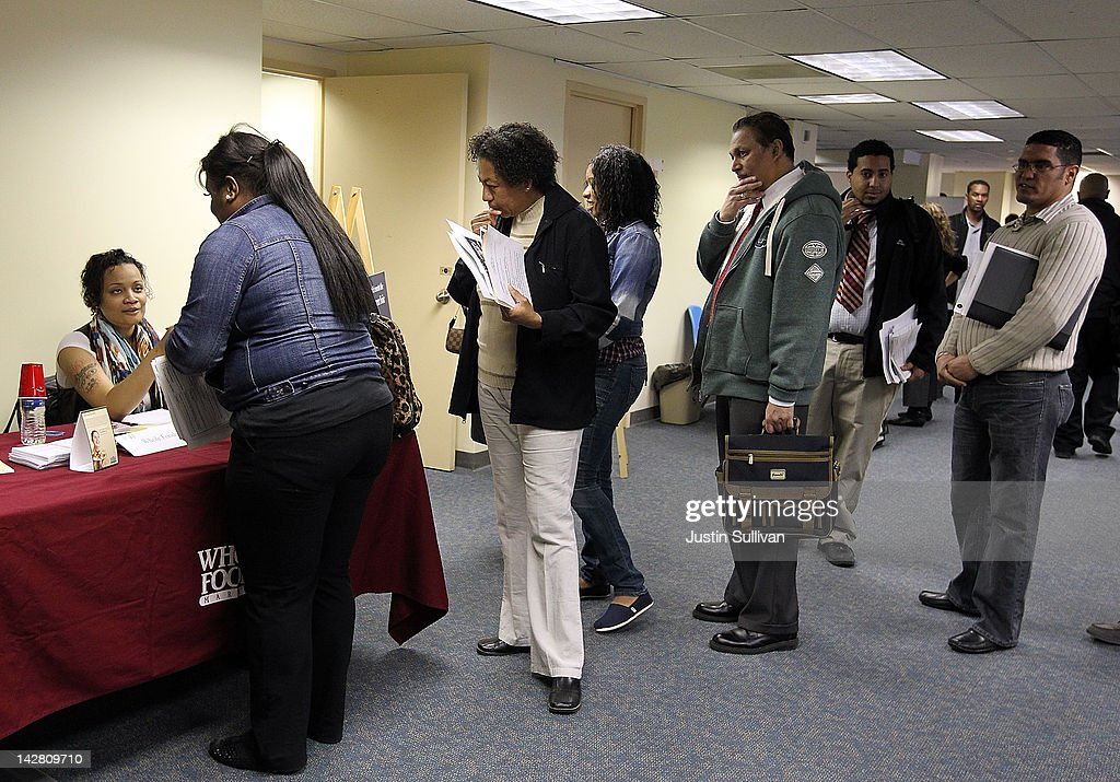 Job seekers wait in line to meet with a recruiter during a job fair hosted by the State of New York at the Shirley A. Chisholm State Office Building on April 12, 2012 in Brooklyn, New York. Thousands of job seekers lined up around the block to meet with recruiters at the one-day job fair that was one of 8 being held across the state.