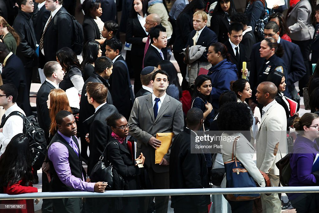 Job seekers wait in line to meet with employers at the 25th Annual CUNY big Apple Job and Internship Fair at the Jacob Javits Convention Center on April 26, 2013 in New York City. The unemployment rate for Americans ages 16Ð24 is currently 16.2 percent, which is more than double the national rate of unemployment.