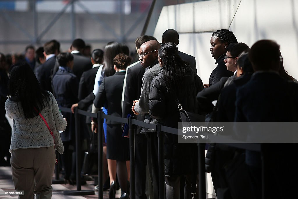 Job seekers wait in line to meet with employers at the 25th Annual CUNY big Apple Job and Internship Fair at the Jacob Javits Convention Center on April 26, 2013 in New York City. The unemployment rate for Americans ages 16-24 is currently 16.2 percent, which is more than double the national rate of unemployment.