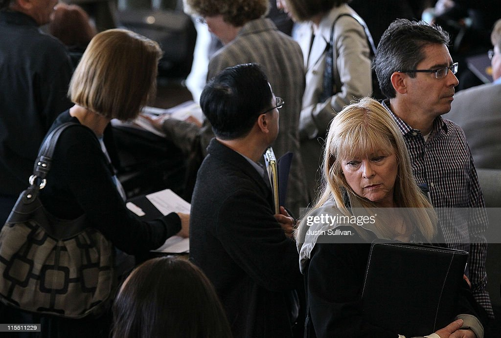 Job seekers wait in line to meet with recruiters during the Job Hunter's Boot Camp at College of San Mateo on June 7, 2011 in San Mateo, California. As the national unemployment rate sits at 9.1 percent, U.S. Rep. Jackie Speier (D-CA) hosted a Job Hunter's Boot Camp that attracted hundreds of job seekers.