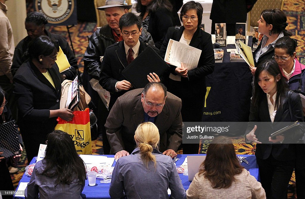 Job seekers wait in line to talk to recruiters during the San Francisco Hirevent job fair at the Hotel Whitcomb on March 27, 2012 in San Francisco, California. As the national unemployment rate stands at 8.3 percent, job seekers turned out to meet with recruiters at the San Francisco Hirevent job fair where hundreds of jobs were available.