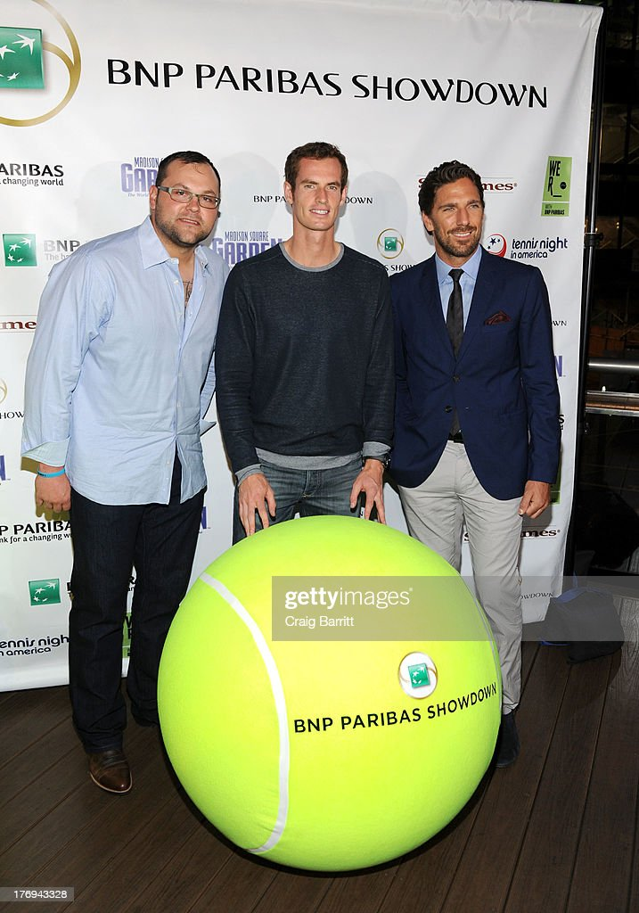 Joba Chamberlain, Andy Murray and Henrik Lundqvist attend the 7th Annual BNP Paribas Showdown Announcement at Local West on August 19, 2013 in New York City.