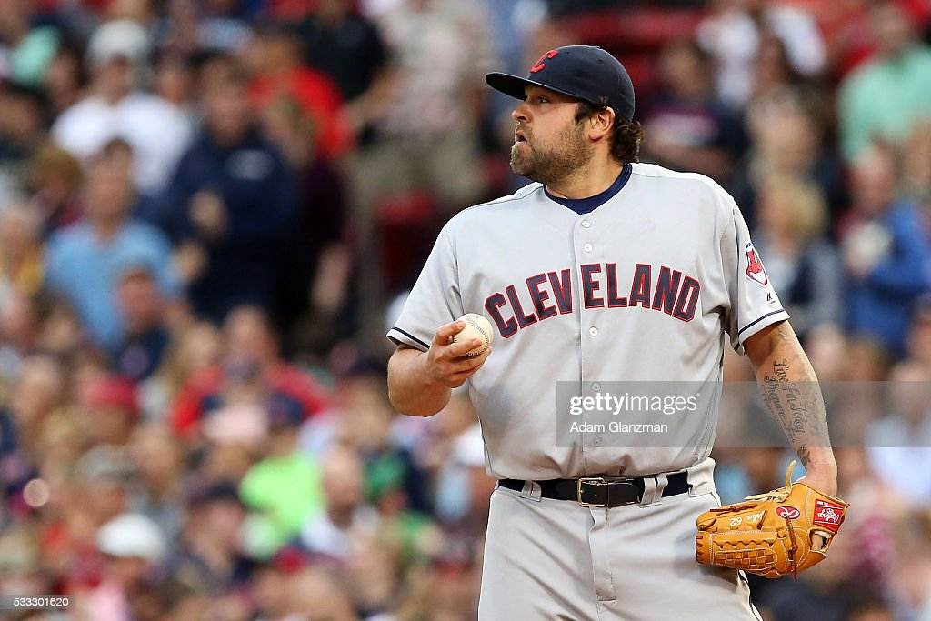 Joba Chamberlain #62 of the Cleveland Indians reacts after giving up a grand slam to Mookie Betts #50 of the Boston Red Sox in the seventh inning during the game at Fenway Park on May 21, 2016 in Boston, Massachusetts.