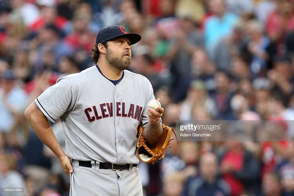 Joba Chamberlain #62 of the Cleveland Indians reacts after walking in a run in the seventh inning during the game against the Cleveland Indians at Fenway Park on May 21, 2016 in Boston, Massachusetts.
