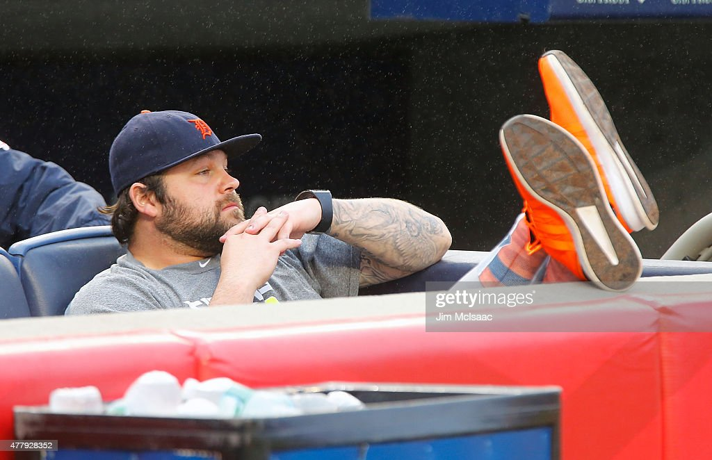 <a gi-track='captionPersonalityLinkClicked' href=/galleries/search?phrase=Joba+Chamberlain&family=editorial&specificpeople=4391682 ng-click='$event.stopPropagation()'>Joba Chamberlain</a> #44 of the Detroit Tigers, a former New York Yankee, watches Old Timer's Day ceremonies before their game at Yankee Stadium on June 20, 2015 in the Bronx borough of New York City.