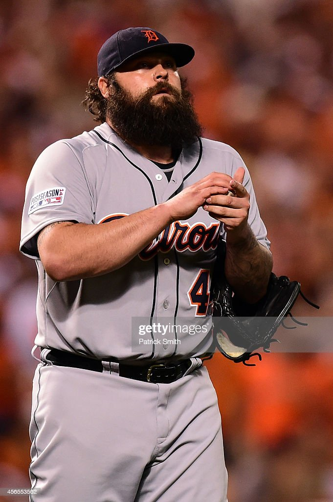 Joba Chamberlain of the Detroit Tigers looks on against the Baltimore Orioles during Game One of the American League Division Series at Oriole Park...