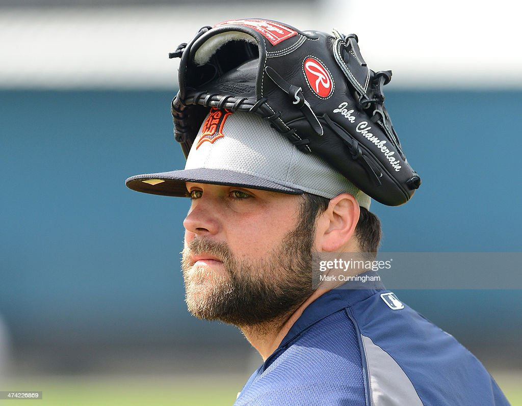 Joba Chamberlain of the Detroit Tigers looks on during the spring training workout day at the TigerTown complex on February 22 2014 in Lakeland...